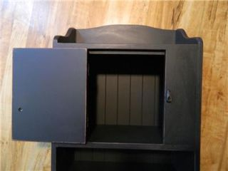 Primitive Country Wood Black Wall Paper Towel Holder and Cupboard