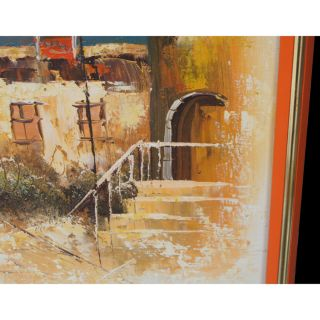 Mid Century Modern Painting French Village Street Scene Price REDUCED
