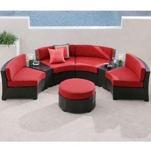 Cindy Crawford Palma Patio Furniture Sofa Sectional Dark Wicker Red