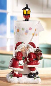 Kissing Mr Mrs Santa Claus Christmas Paper Towel Holder