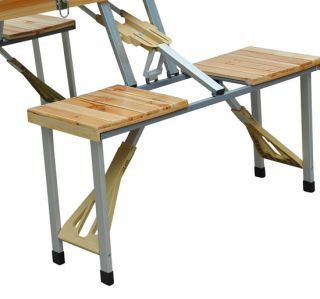 Outdoor Folding Wooden Picnic Table Garden Party Camping Time with 4 Seats