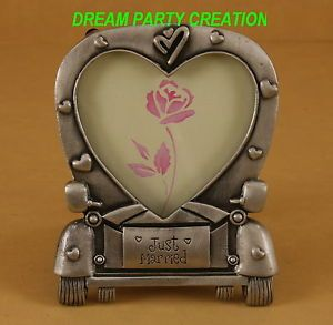 "1 Pewter Wedding Car Heart Shape Picture Frame with ""Just Married"" Engraved"