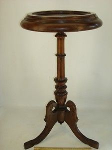 Antique Victorian Walnut Slate Top Plant Stand