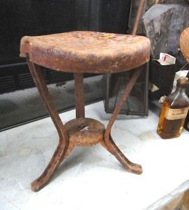 Antique Primitive Milking Stool w Star Cast Iron Plant Stand Farm Cow Goat