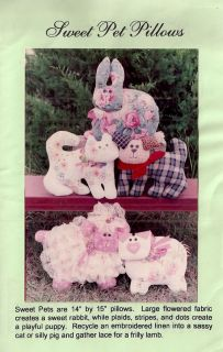 "Cat Dog Bunny Pig Lamb Stuffed 14"" Pillow Uncut Pattern"