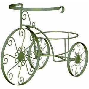 Indoor Outdoor Nostalgic Tricycle Metal Plant Stand Antique Willow Finish