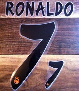 Cristiano Ronaldo 7 Real Madrid Home 2013 2014 Name Number Set Nameset Print CR7