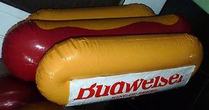 """Vtg Advertising Inflatable Budweiser Beer Hot Dog Food Sign Anheuser Busch 42"""""""