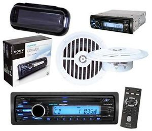 "Sony New CDXM20 Marine Boat Yacht CD MP3 Radio w 5 25"" Speakers Stereo Cover"