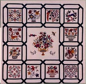"""Baltimore Tribute Applique Quilt"" Appliqué Quilt Kit Pattern Designed by Mary S"