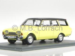 Ford Taunus 17M P3 Turnier Gelb Schwarz Modellauto 44560 Neo 1 43