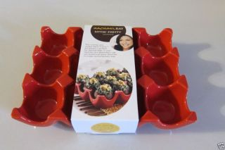 2 Rachael Ray Stoneware Christmas Red Deviled Egg Plate Holder Appetizer Tray