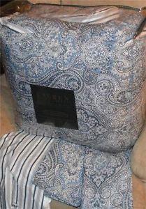 Ralph Lauren Ashbourne Blue Paisley Queen Comforter Set New 1st Quality