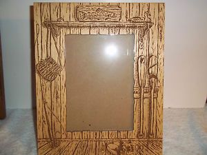 "8 5"" x 10 5"" Wood Cabin Style Table Top Picture Frame 5 x 7 Picture Insert"