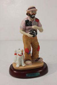 "Emmett Kelly Jr ""Bowler"" Retired Clown Figurine by Flambro w Stand Bowlling"
