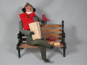 Vintage Retired Byers Choice Carolers Figurine 1997 Man Feeding Birds on Bench
