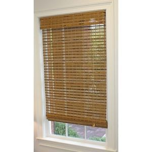 """Style Selections 27"""" x 72"""" Natural Woven Roman Shade Jakarta Weave Pecan Finish"""