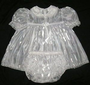 Adult Sissy Baby Super Shin Mirror Baby Dress White M