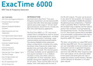 Datum Symmetricom Truetime ET6000 Exactime 6000 GPS Oxco Atomic Clock Receiver