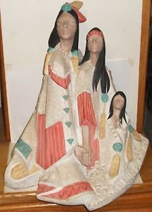 "Huge Austin Prod ""Acoma"" Indian Family Sculpture 1990"