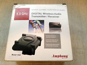 Amphony 1540 Digital Wireless Audio Transmitter Receiver Combo 5 8GHz Speakers