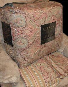 Ralph Lauren Hera Champagne Paisley Queen Comforter Set New 1st Quality $400
