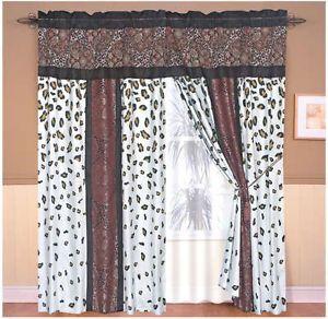 8PC Zambia Leopard Jacquard Animal Print Blue Burgundy Curtain Set Panels Sheer