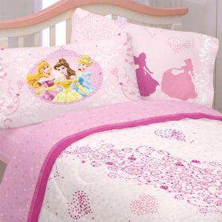 Disney Princess Pink Hearts Twin Sheet Set Cinderella Belle Single Bed Sheets