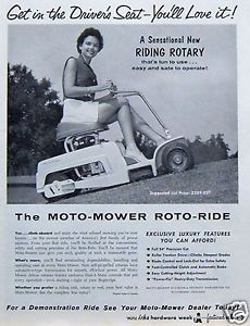 1958 Moto Mower Roto Ride Rotary Riding Lawn Mower leggy Woman Vintage Print Ad