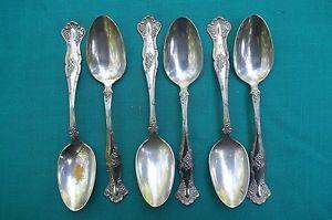 1904 Vintage 6 Soup Spoons by 1847 Rogers Grape Silver Plate Teaspoon Flatware