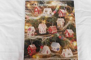 Plastic Canvas Gingerbread Houses Christmas Ornament Pattern Book