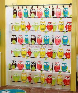 Colorful owl vinyl shower curtain blue pink brown yellow green 70 quot 72