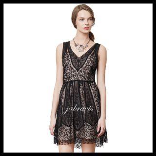 e89ae2141e5f Yoana Baraschi • Anthropologie Black Lace at Dusk Silk Organza Dress •