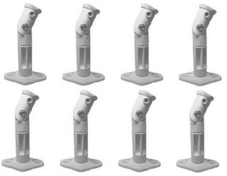 Eight 8 White Speaker Wall Mount Ceiling Bracket for Surround Sound Home Theater