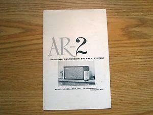 Original Acoustic Research AR 2 Speaker Brochure Ad