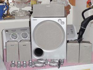 Sony SA WMSP85 Subwoofer w Sony SS MSP75 Speaker Set with Wall Mounts
