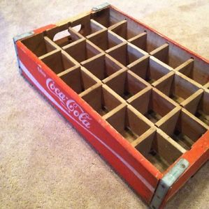 Vintage 1977 Wooden Wood Coca Cola Coke 24 Bottle Crate Carrier Caddie