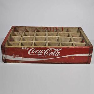 Vintage Red Coca Cola Wood 24 Bottle Carrier Crate