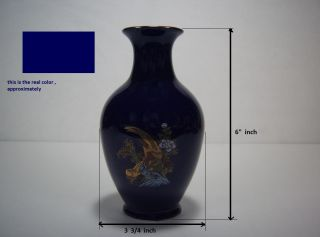 """'Small Bud Vase Hand Painted Peacocks Flowers 6"""" in Tall Cobalt Blue"""