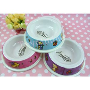 New Small Size Dog Puppy Cat Bowl Water Food Feeder Dishes Plastic Bowl