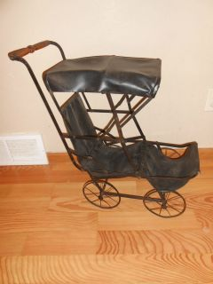 Vintage Baby Doll Stroller Buggy Collapsible Hooded Carriage RARE