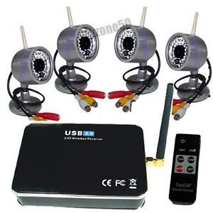 2 4GHz Wireless 4 Camera Kit Home Security CCTV with USB DVR Surveillance System