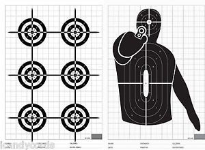 24 Qty 2 Type Silhouette Paper Targets Hand Gun 6 Circle Range Practice Target