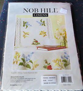 NOB Hill Linens Garden Array Crewel Stitchery Table Runner Kit