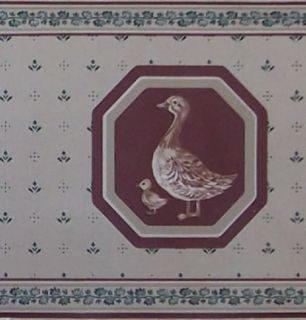 Kitchen Wallpaper Border Country Farm Chicken Duck Rooster Red Apple Classic