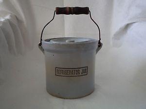 Vintage Antique Stoneware Crock Refrigerator Jar with Lid