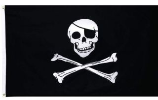 3x5 Pirate Flag Jolly Roger Skull Crossbones Black Sign Cross Bones