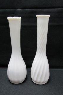 White Milk Glass Bud Flower Vases Wedding Shower Vintage Lot 15 LG SM Hobnail