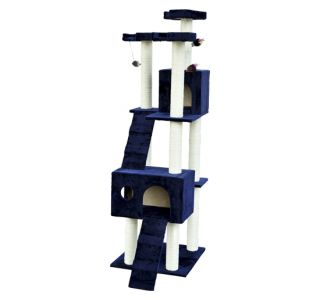 "New 71"" Cat Tree Condo Furniture Scratch Post Pet House Blue w Free Toy"