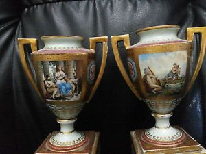 Vintage Pair of c1890 Royal Vienna Porcelain Vases Hand Painted